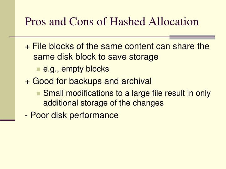 Pros and Cons of Hashed Allocation