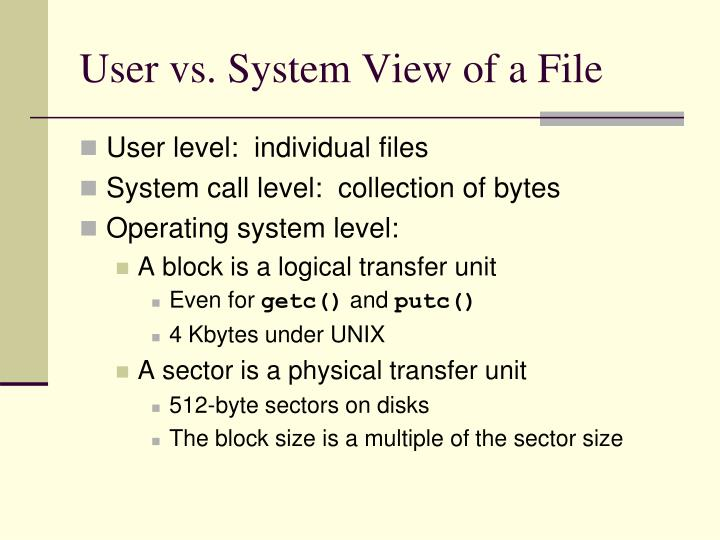 User vs. System View of a File