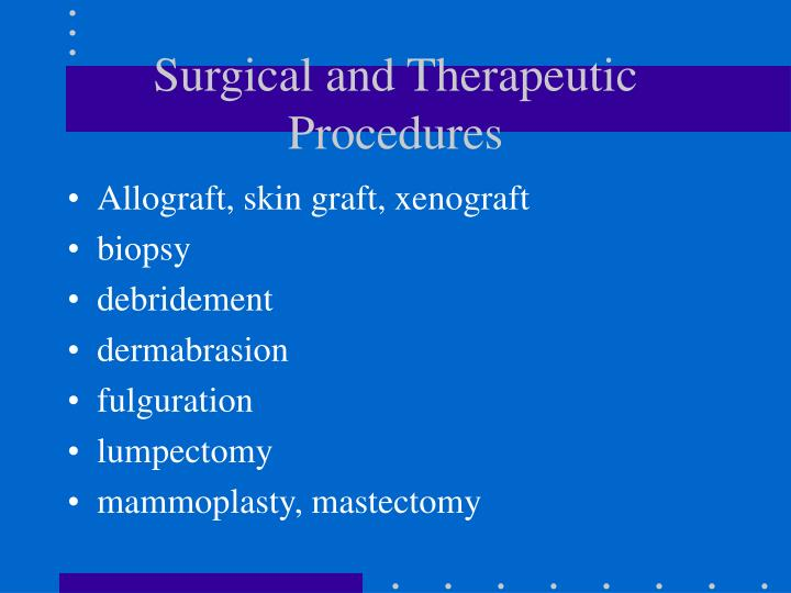 Surgical and Therapeutic Procedures