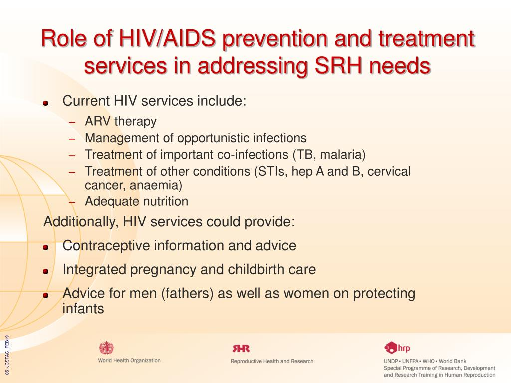 Role of HIV/AIDS prevention and treatment services in addressing SRH needs