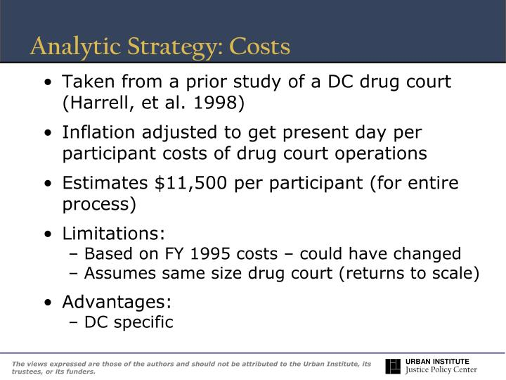 Analytic Strategy: Costs