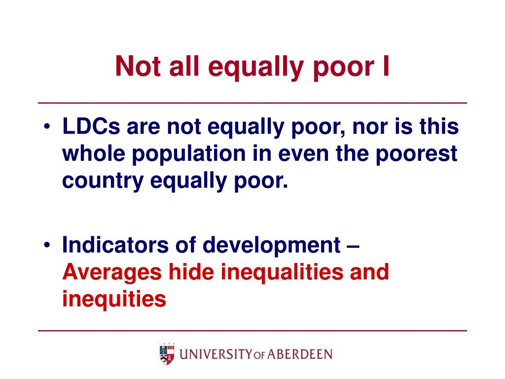 Not all equally poor I