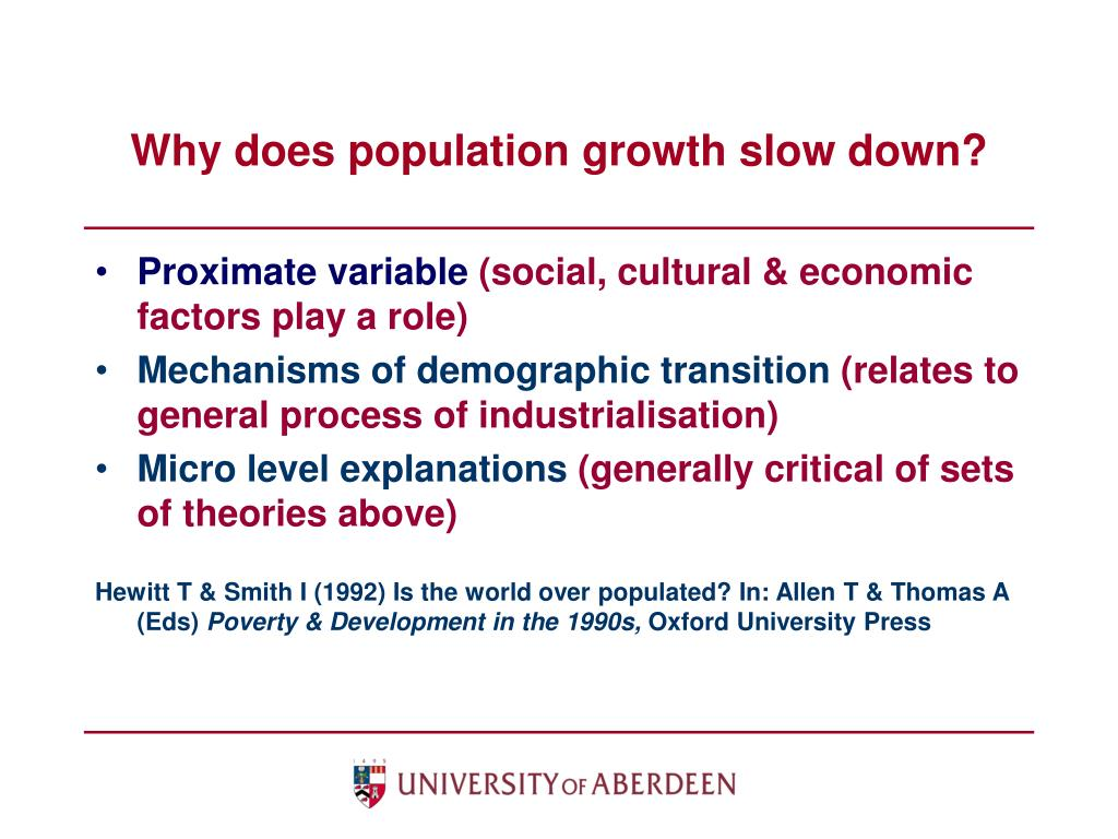 Why does population growth slow down?