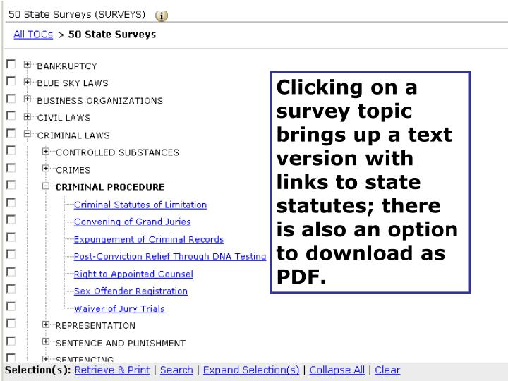 Clicking on a survey topic brings up a text version with links to state statutes; there is also an option to download as PDF.