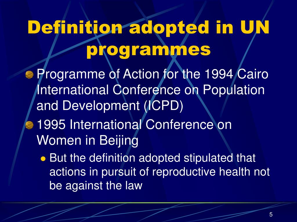 Definition adopted in UN programmes