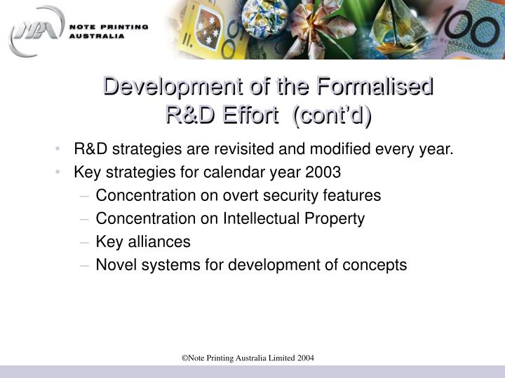 Development of the Formalised