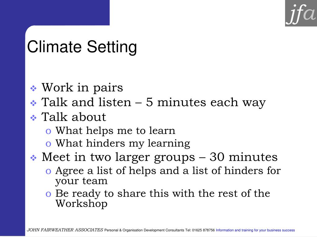 Climate Setting