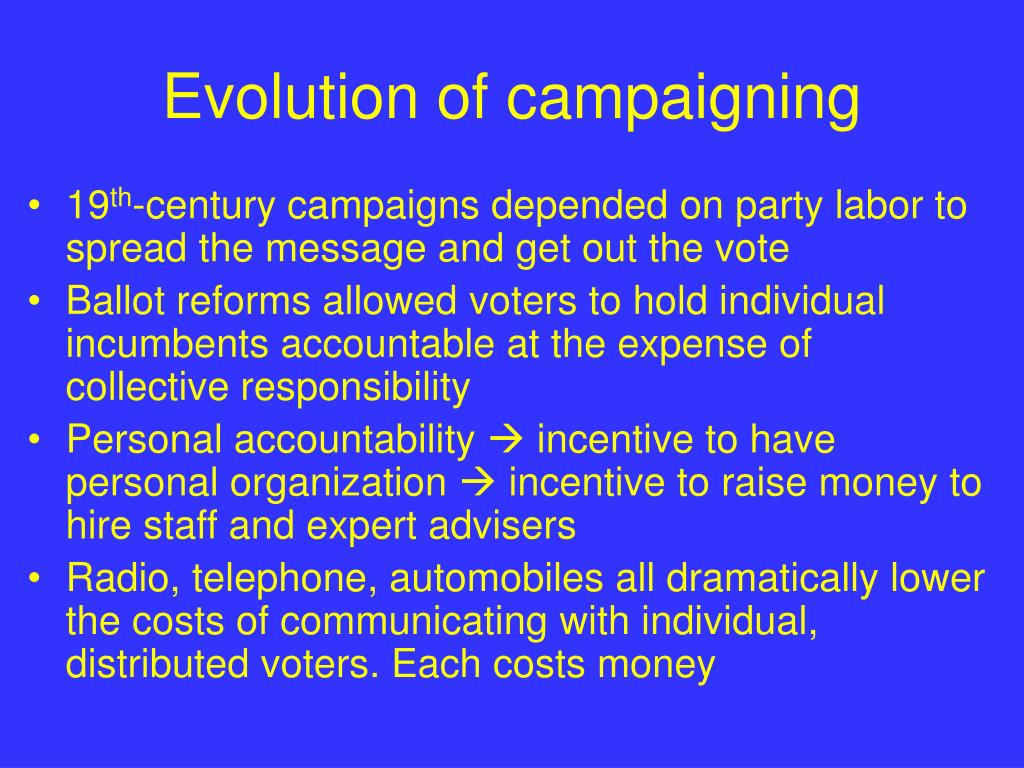 Evolution of campaigning