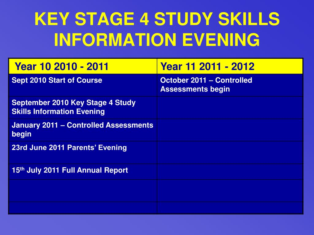 KEY STAGE 4 STUDY SKILLS INFORMATION EVENING
