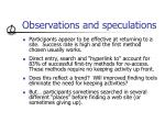 observations and speculations