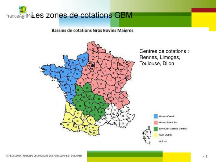 Les zones de cotations GBM