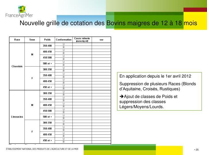 Nouvelle grille de cotation des Bovins maigres de 12 à 18 mois