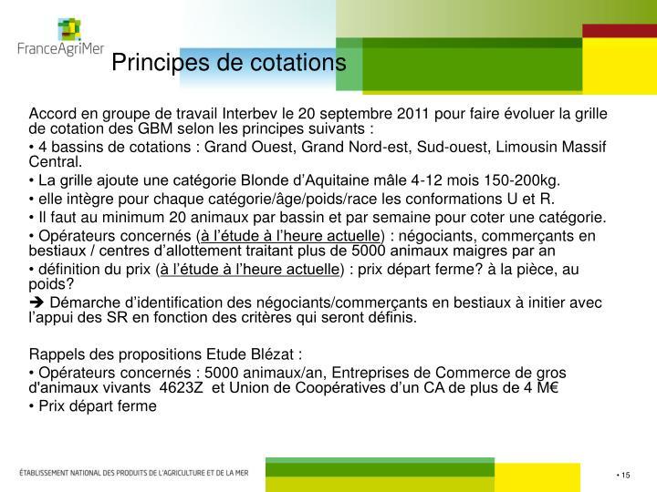 Principes de cotations