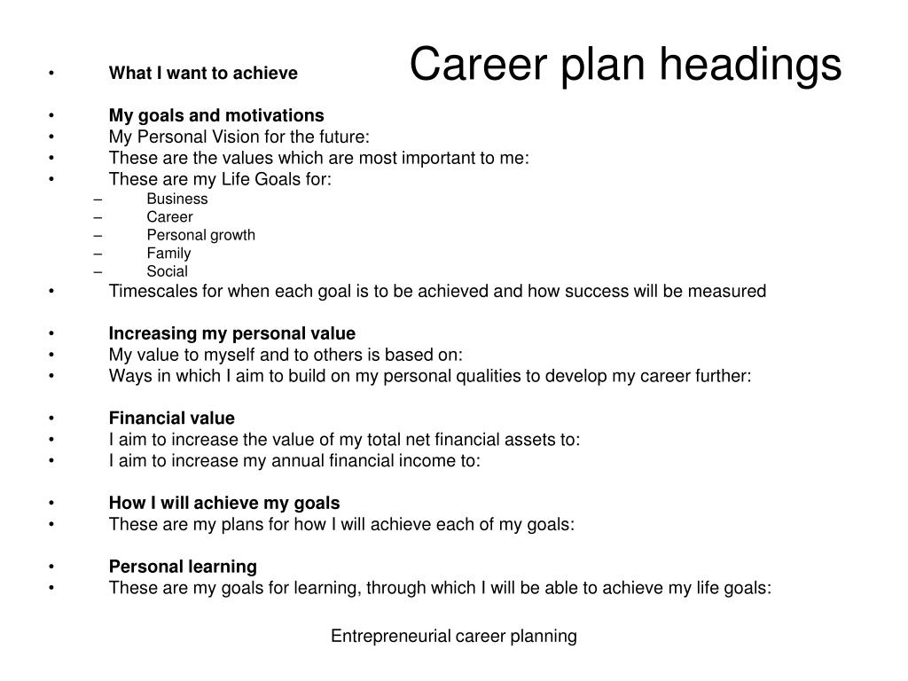 Career plan headings