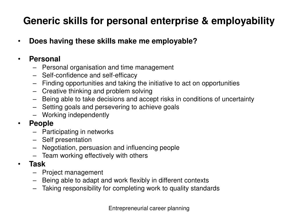 Generic skills for personal enterprise & employability