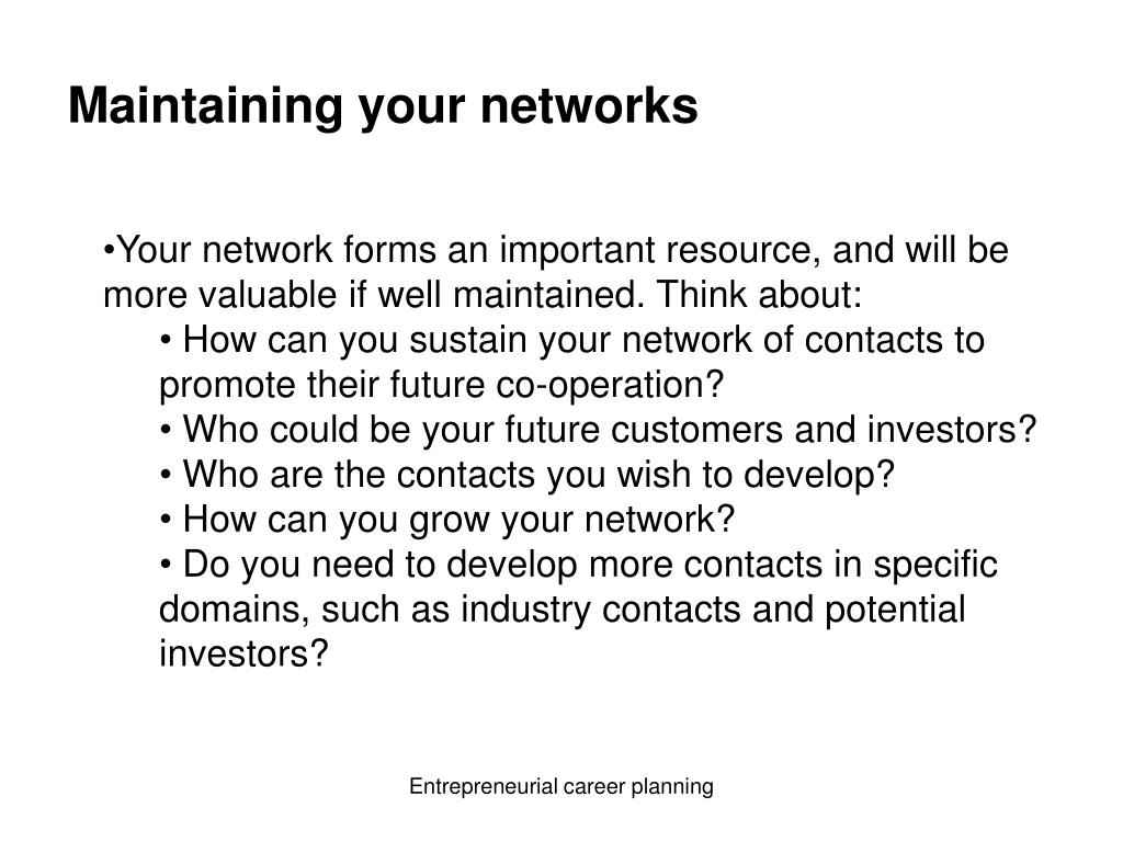 Maintaining your networks
