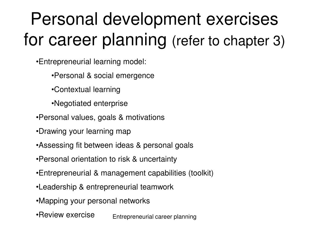 Personal development exercises for career planning