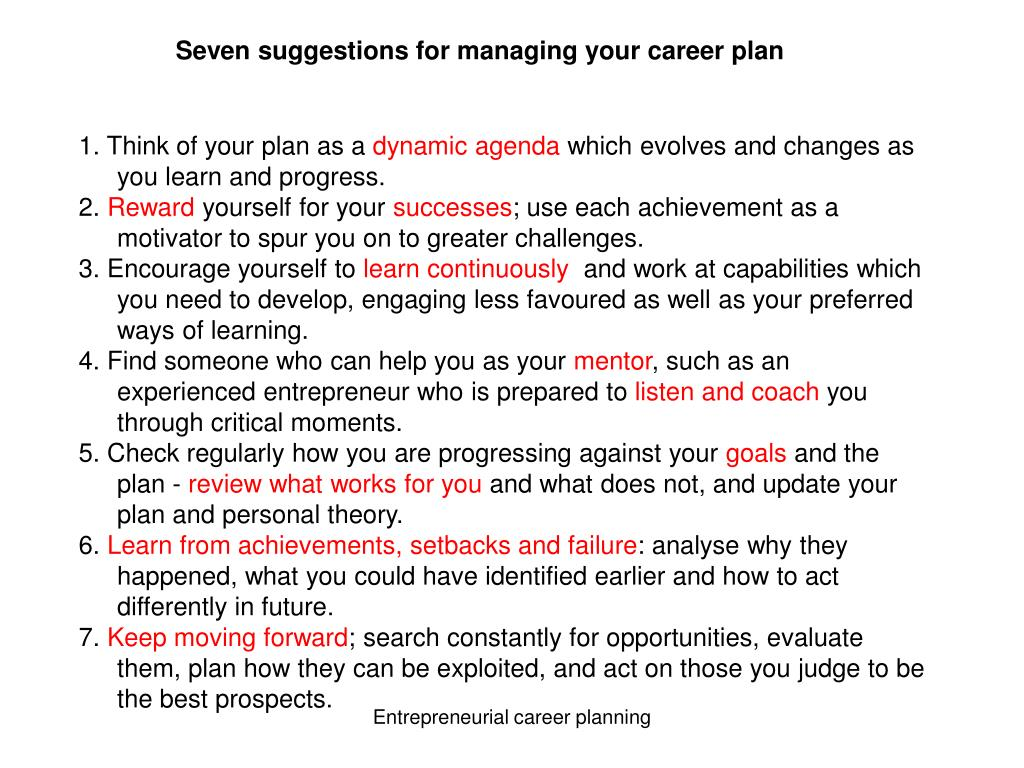 Seven suggestions for managing your career plan