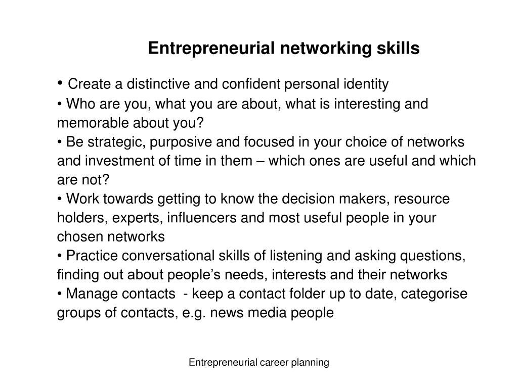 Entrepreneurial networking skills