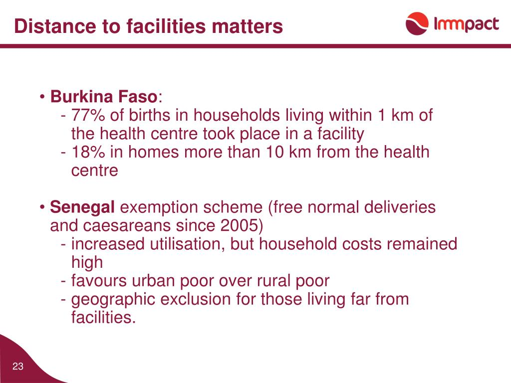 Distance to facilities matters