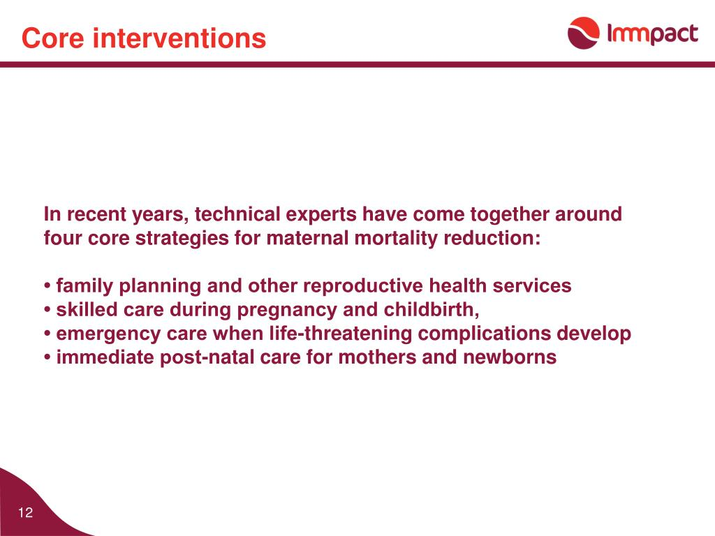 Core interventions