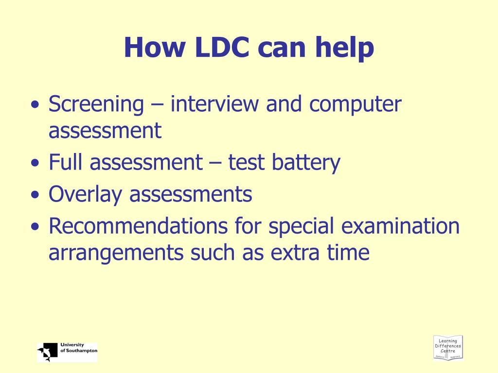 How LDC can help