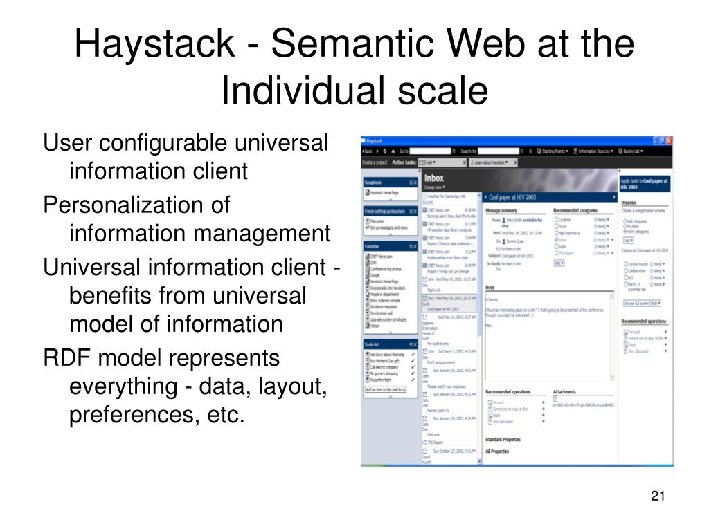 Haystack - Semantic Web at the Individual scale