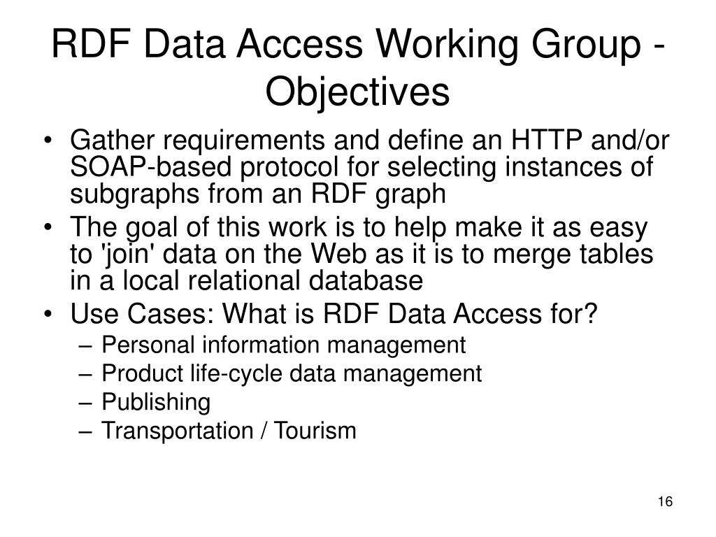 RDF Data Access Working Group - Objectives