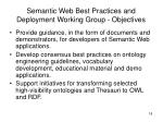 semantic web best practices and deployment working group objectives