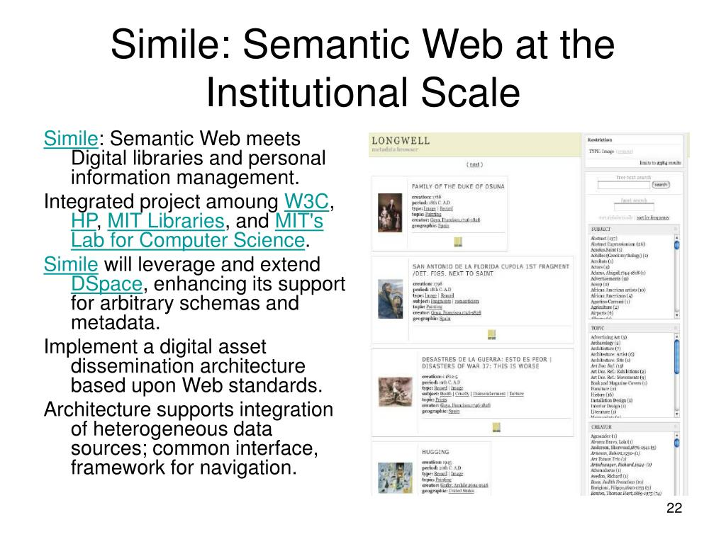 Simile: Semantic Web at the Institutional Scale