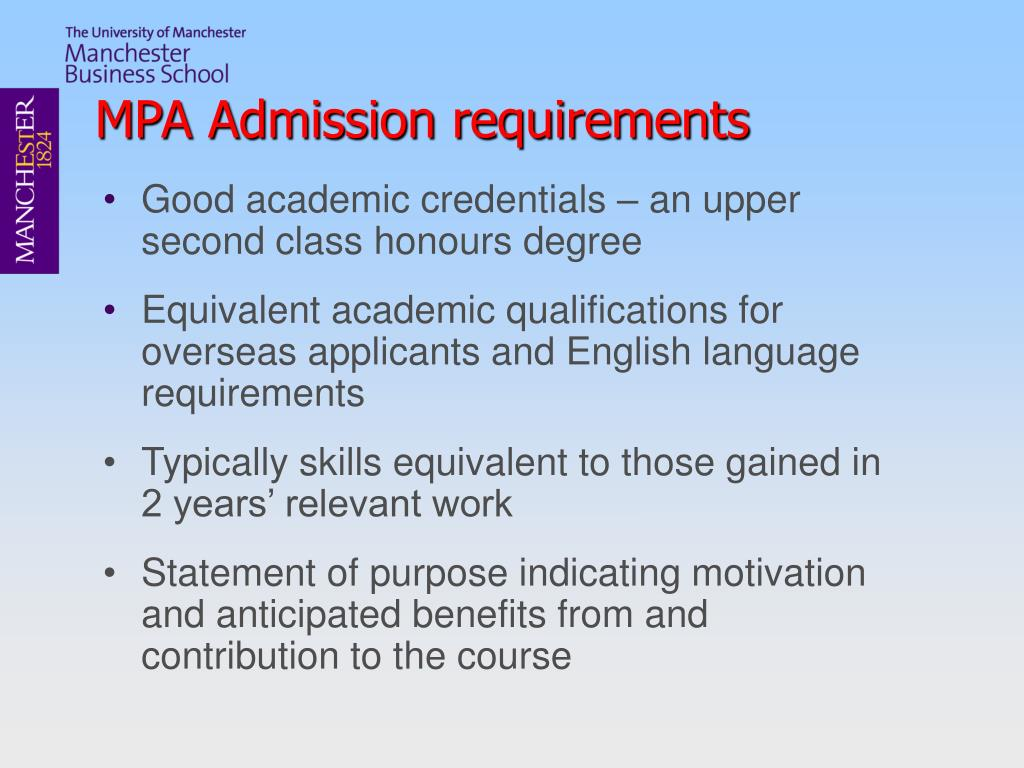 MPA Admission requirements