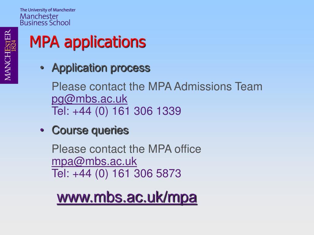MPA applications