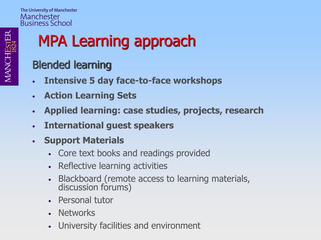 MPA Learning approach