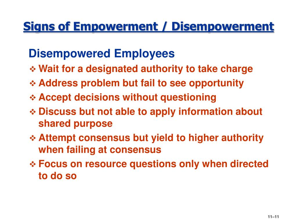 Signs of Empowerment / Disempowerment