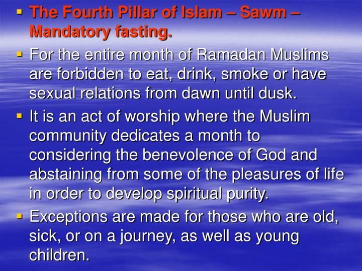 The Fourth Pillar of Islam – Sawm – Mandatory fasting.