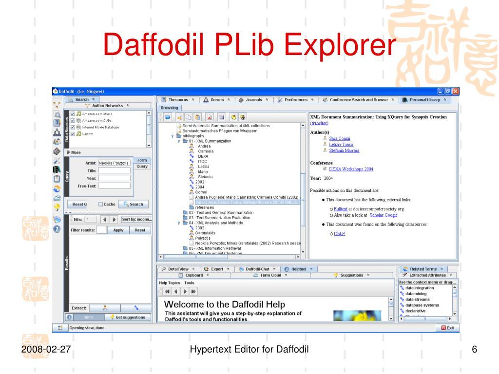 Daffodil PLib Explorer