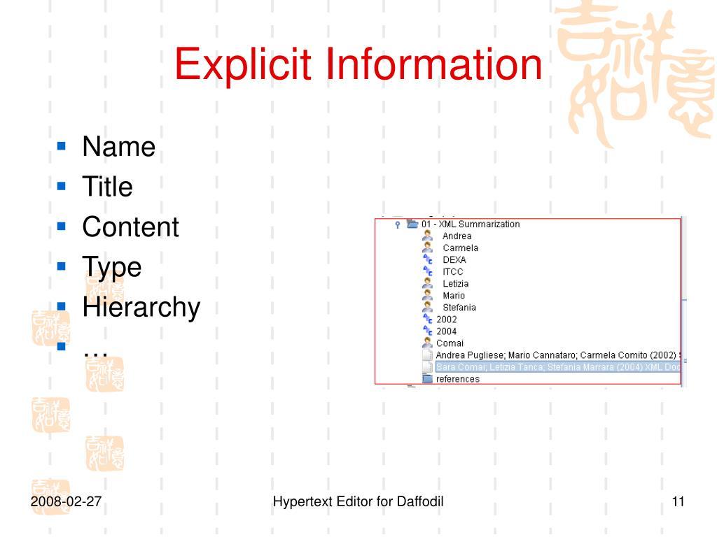 Explicit Information