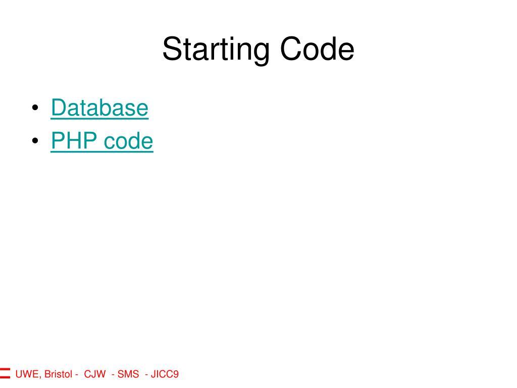 Starting Code