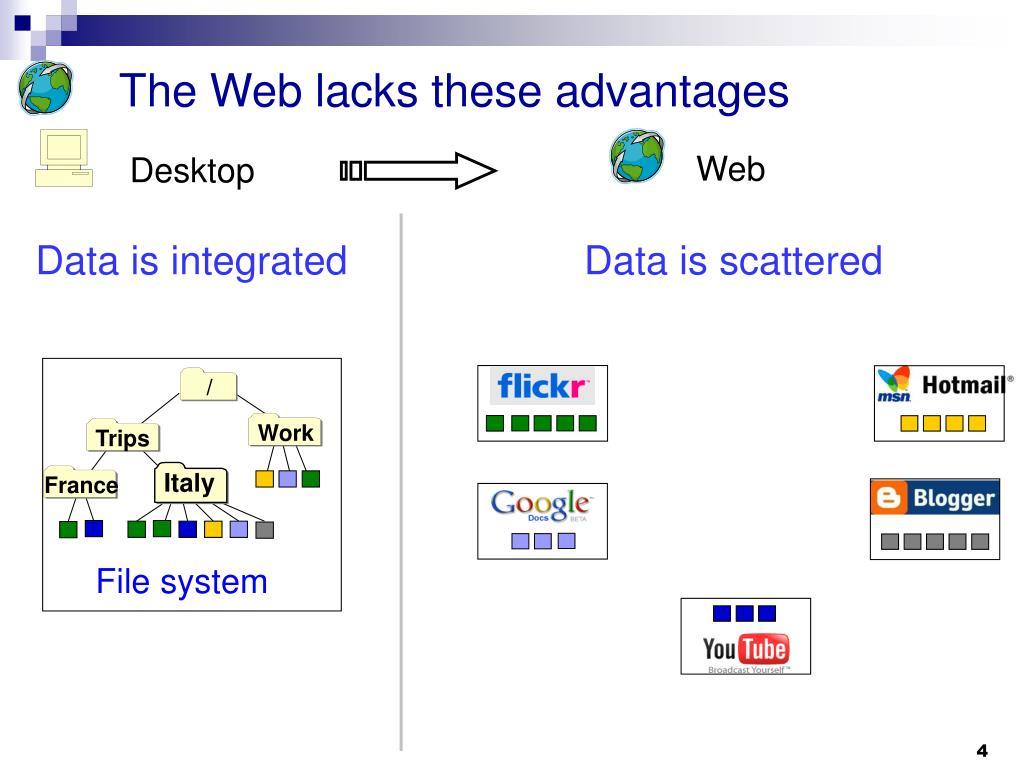 The Web lacks these advantages
