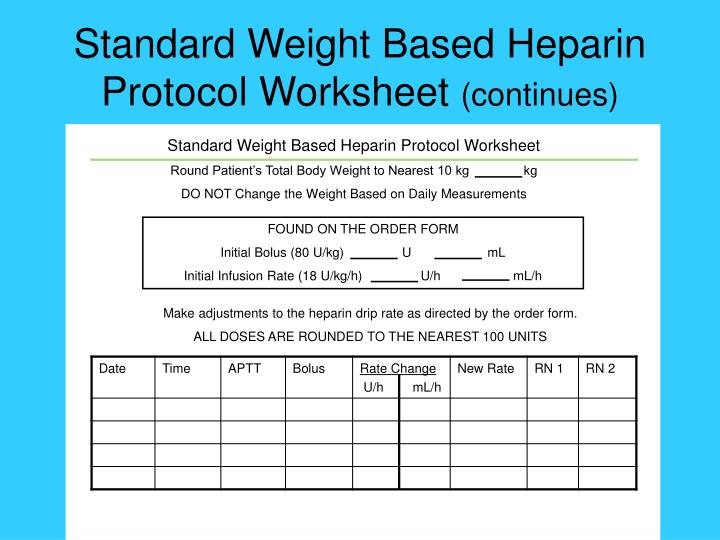 Standard Weight Based Heparin Protocol Worksheet