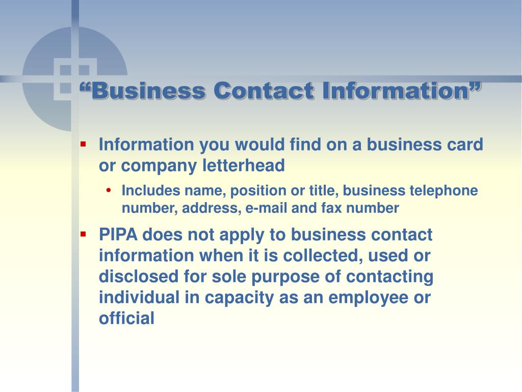 """Business Contact Information"""