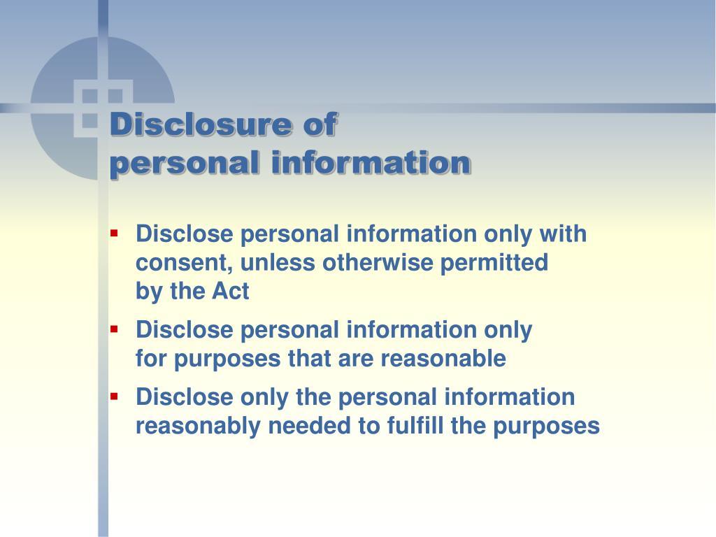 Disclosure of