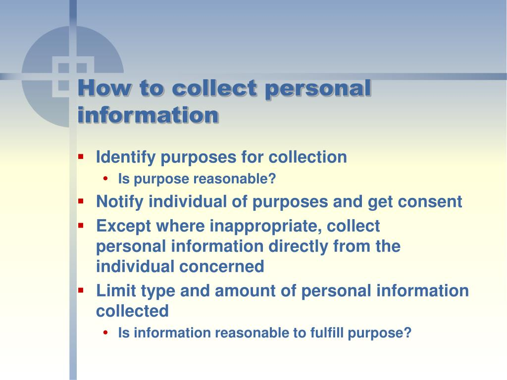 How to collect personal information