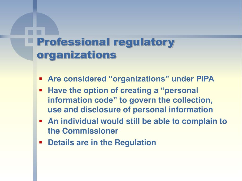 Professional regulatory organizations