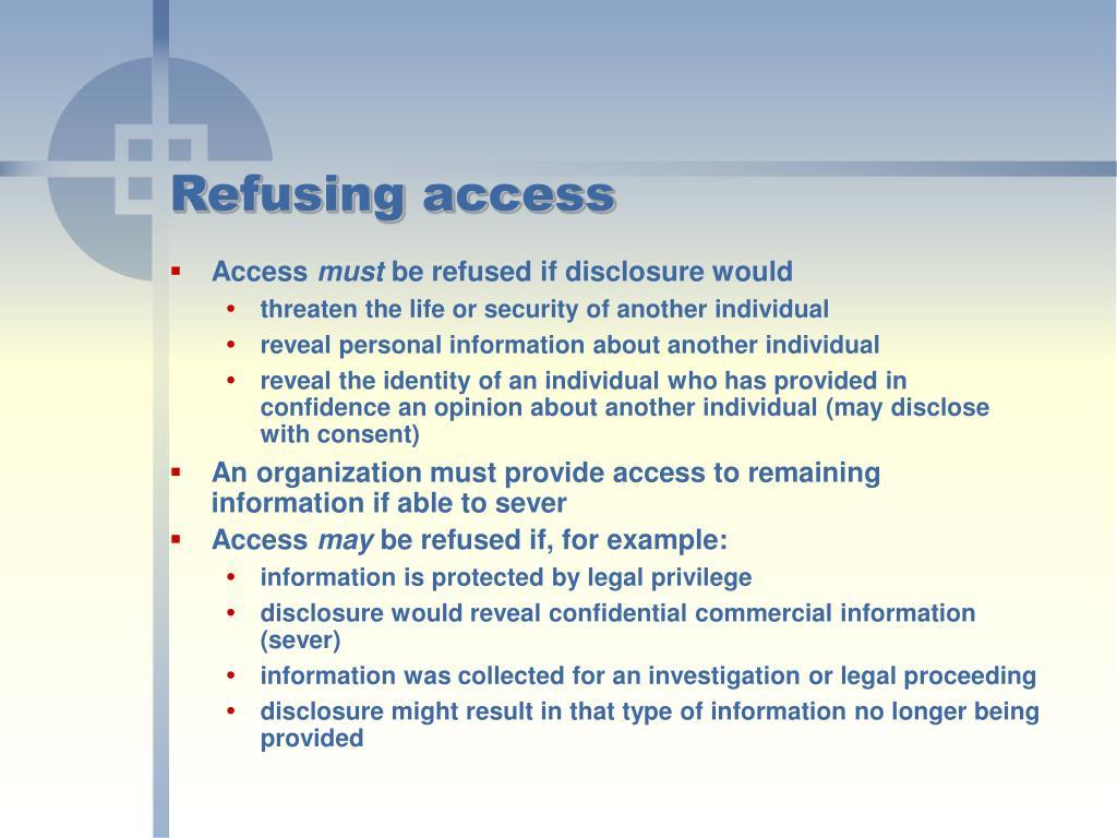 Refusing access