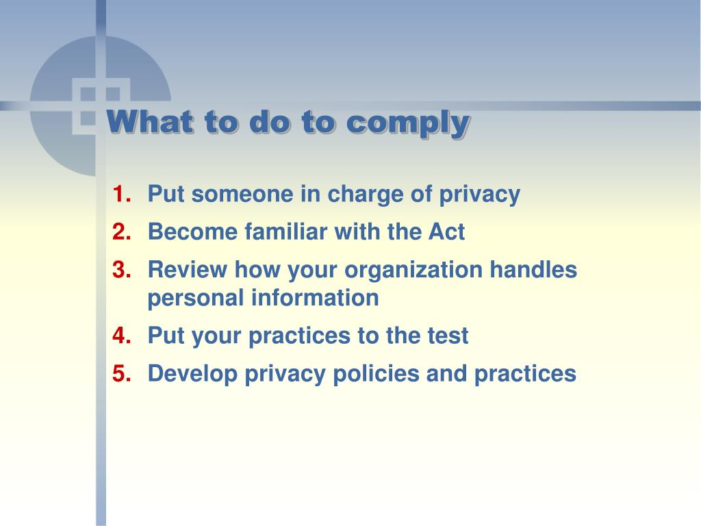 What to do to comply