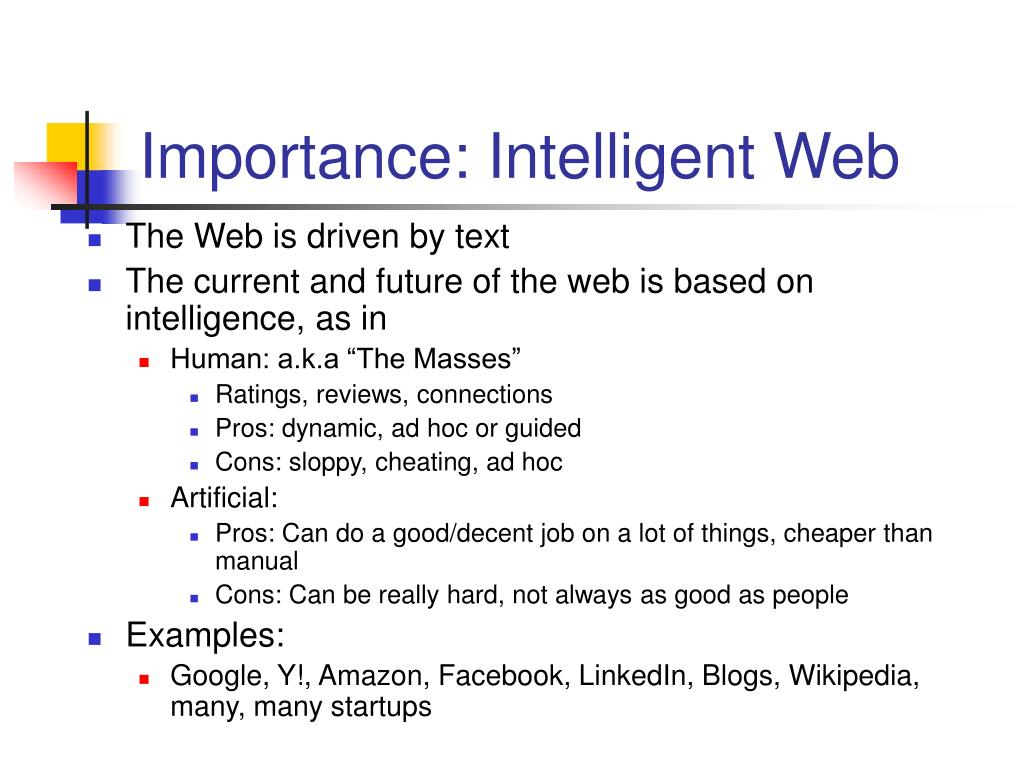 Importance: Intelligent Web