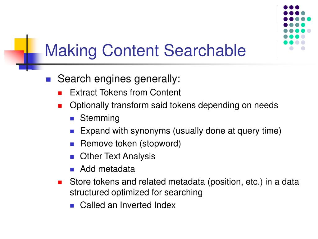 Making Content Searchable