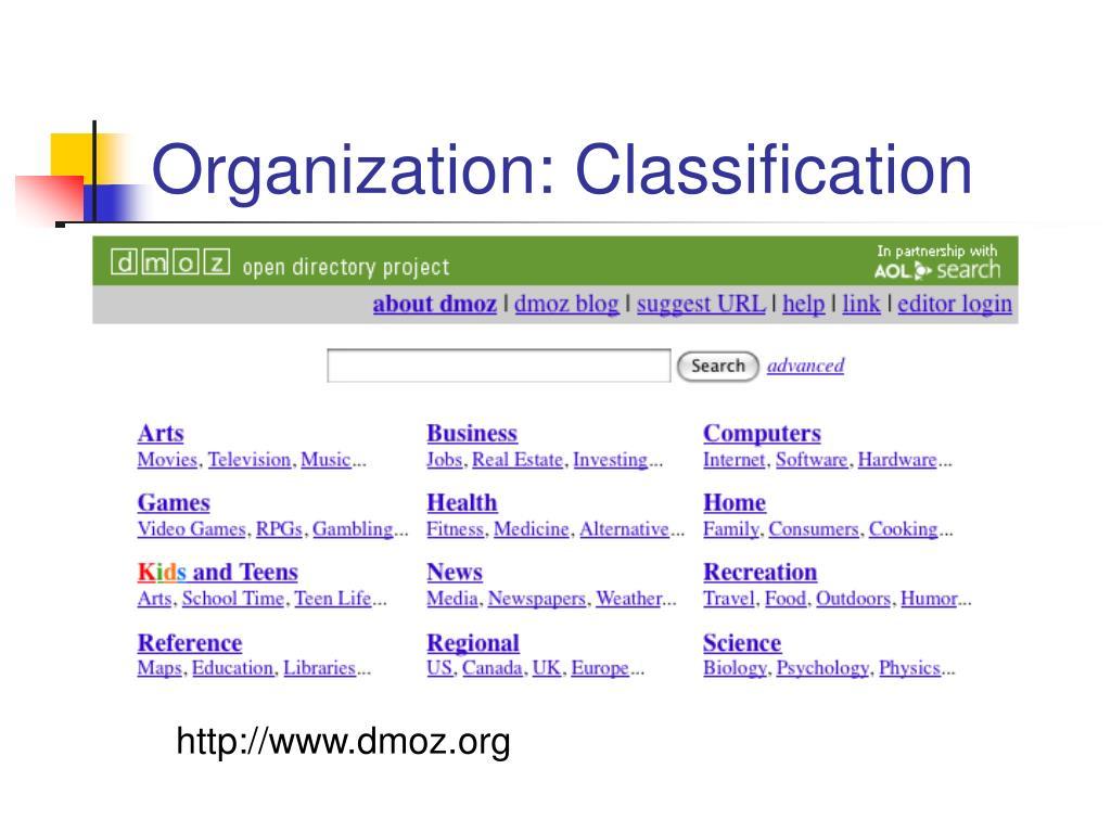 Organization: Classification