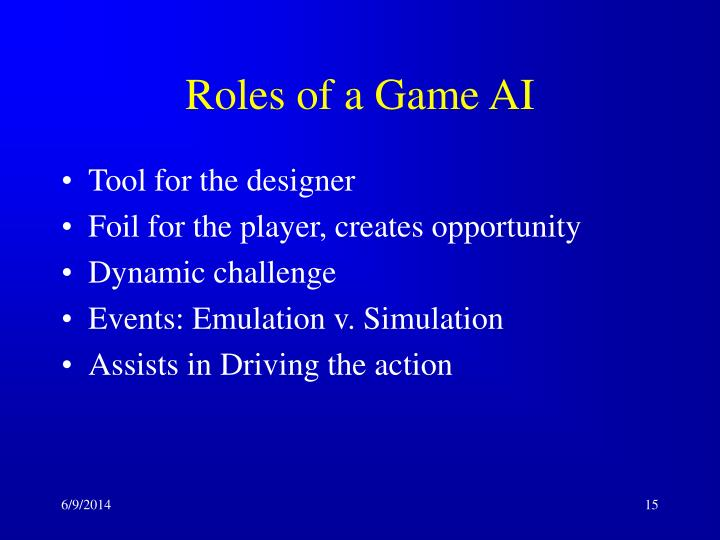 Roles of a Game AI